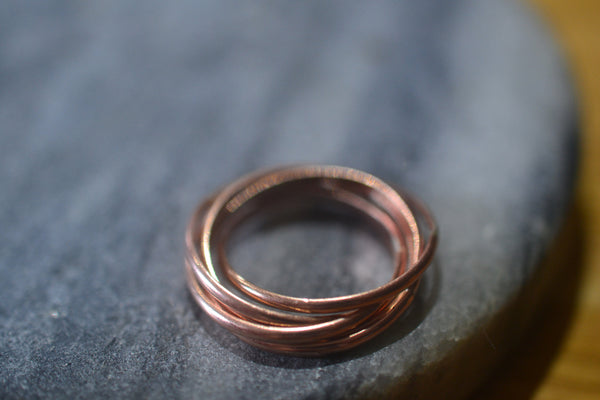 Set of Five 14ct Rose Gold Rolling Rings Smooth Finish