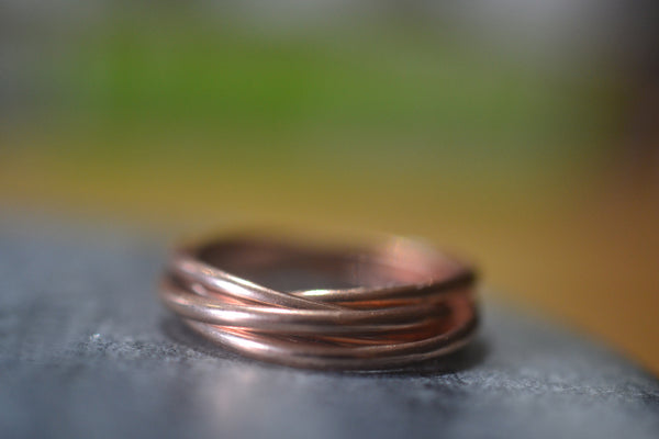 Interlocking 14k Rose Gold Russian Wedding Bands