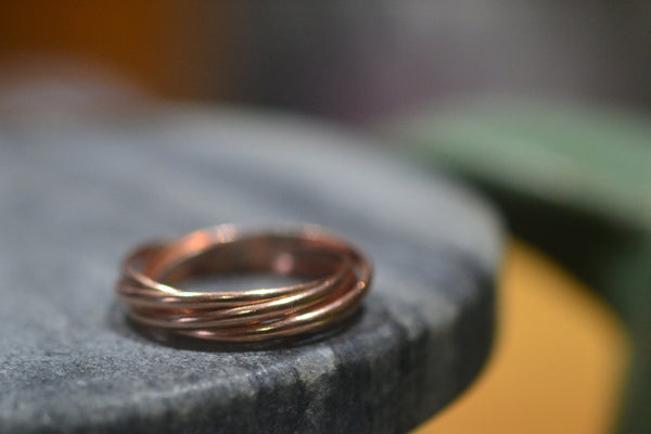 Five Band Interlocking Russian Wedding Ring in 14K Rose Gold