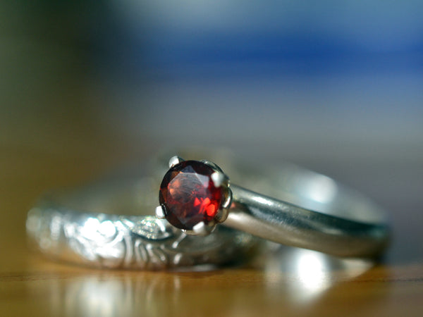 Women's Personalised Garnet Engagement Ring Set in Silver