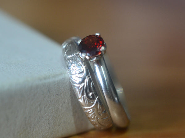 Handmade Sterling Silver & Red Garnet Engagement Ring Set