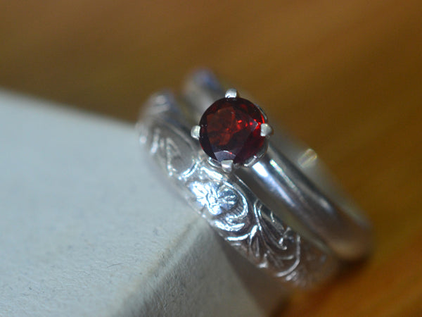 Handmade Sterling Silver & Garnet Solitaire Wedding Ring Set