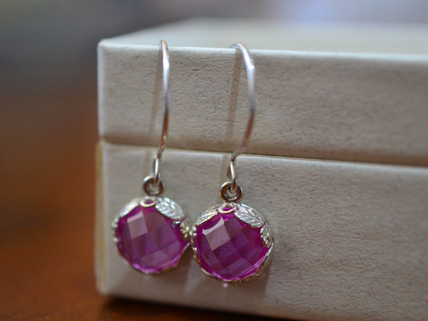Handmade Floral Silver & Pink Sapphire Drop Earrings