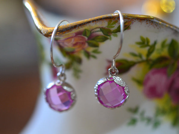 Handmade Floral Silver Pink Sapphire Bridal Earrings