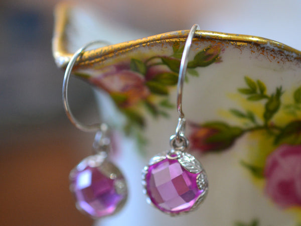 Handmade Floral Silver Pink Sapphire Dangle Earrings