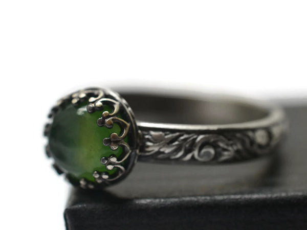 Handmade Antiqued Floral Silver Serpentine Ring