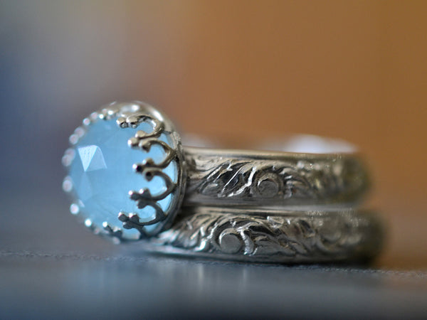Floral Silver Aquamarine Bridal Ring Set for Women