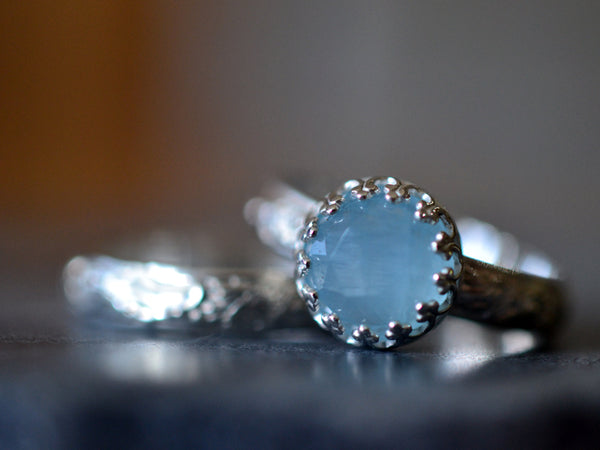 Customised Bridal Ring Set for Women With Aquamarine