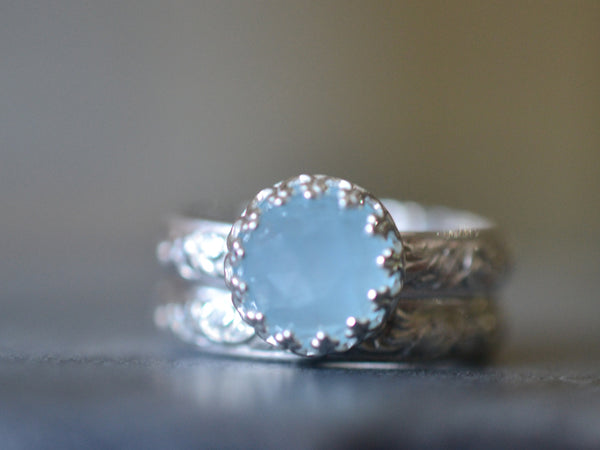 Women's Aquamarine Wedding Ring Set in Sterling Silver