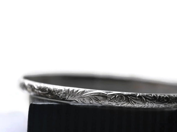 Handmade Oxidized Silver 4mm Renaissance Style Floral Bangle