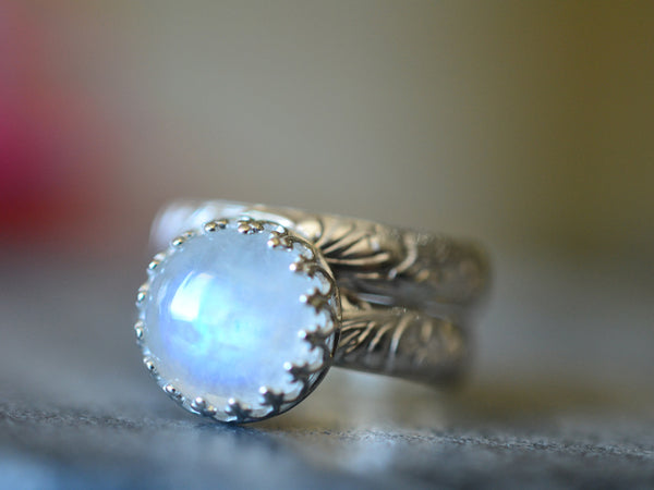 Women's 10mm Blue Moonstone Bridal Ring Set in Silver