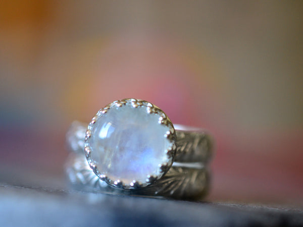 Engravable Floral Silver Blue Moonstone Engagement Ring Set