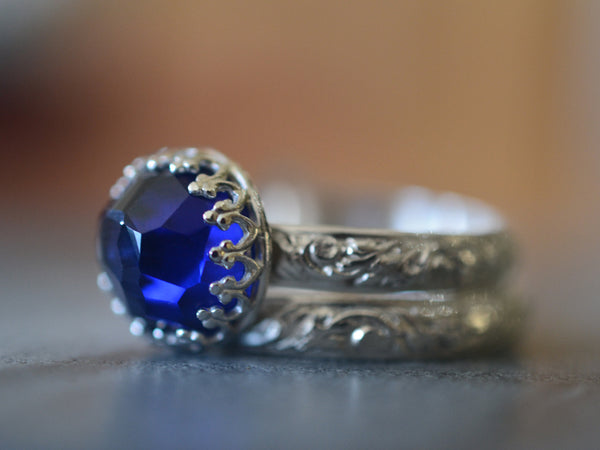Floral Silver Blue Sapphire Wedding Ring Set