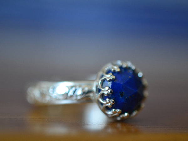 Handmade Floral Silver Natural Lapis Lazuli Engagement Ring