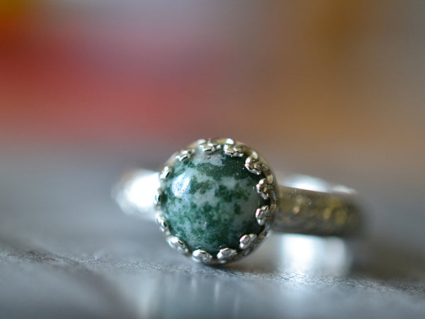 Floral Silver Moss Agate Statement Ring