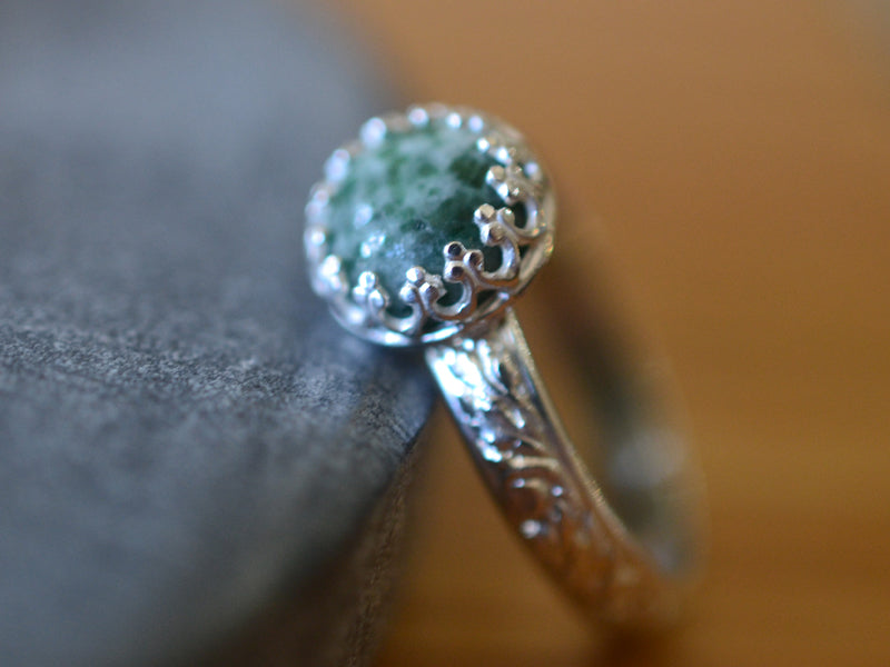 Floral Silver Moss Agate Ring for Women