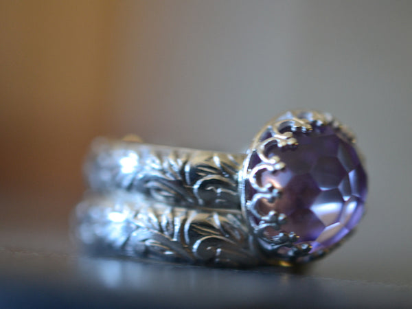 Floral Silver Pink Amethyst Wedding Ring Set