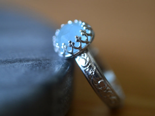 Personalised Floral Silver Aquamarine Engagement Ring
