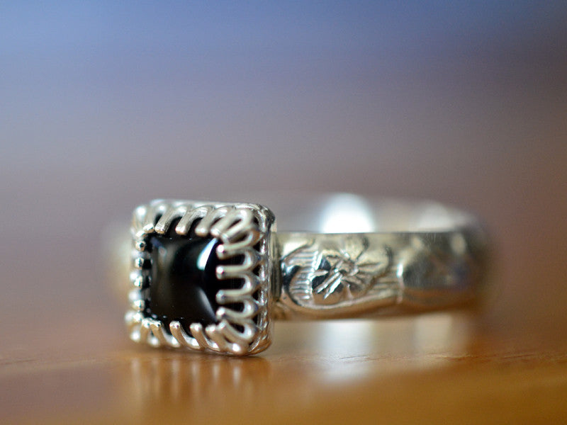 Handmade Floral Silver Black Onyx Engagement Ring