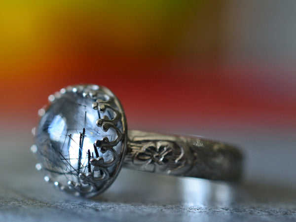 10mm Round Tourmalinated Quartz Gemstone Ring in Silver