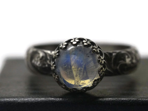 Oxidized Silver Flower Pattern 8mm Blue Moonstone Ring