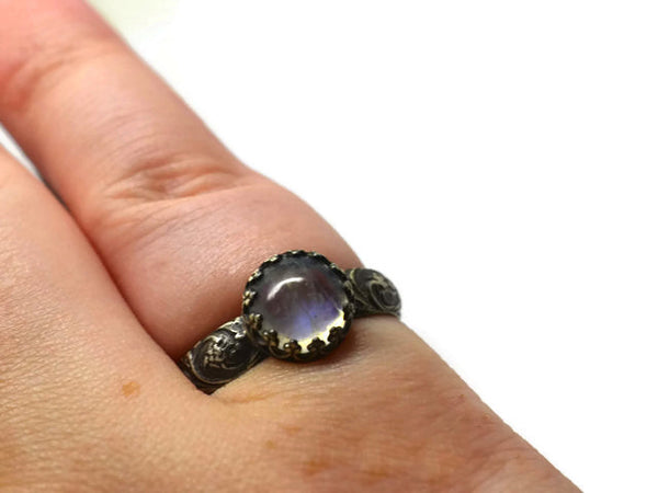 Oxidized Silver Flower Pattern Blue Moonstone Ring