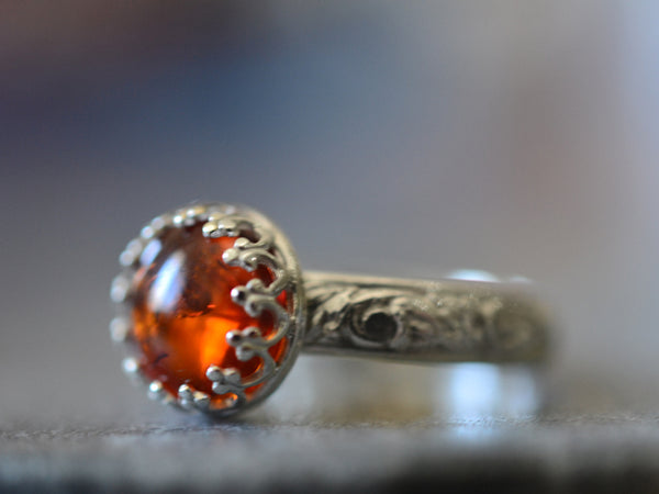 Personalised Floral Silver Baltic Amber Engagement Ring