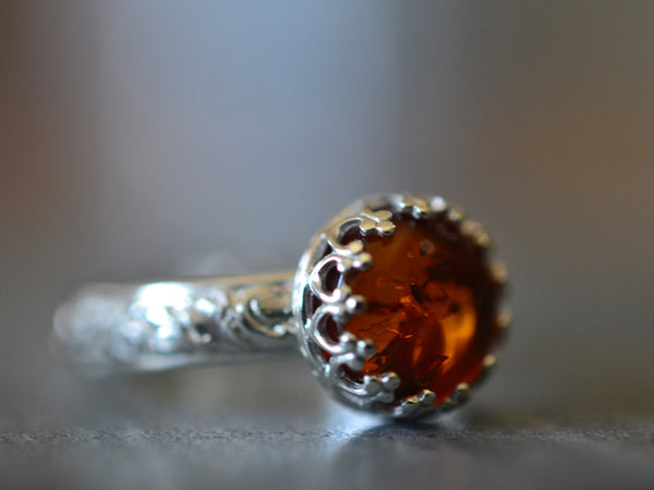 Customised Floral Silver Baltic Amber Engagement Ring