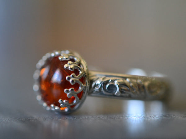 Handmade Personalised Floral Silver Amber Engagement Ring