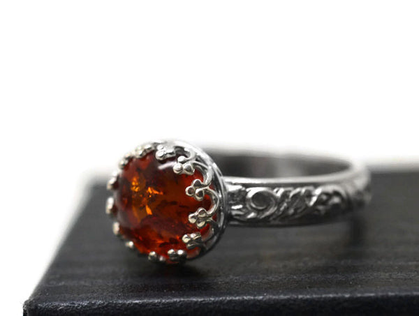 Handmade Floral Silver Baltic Amber Engagement Ring