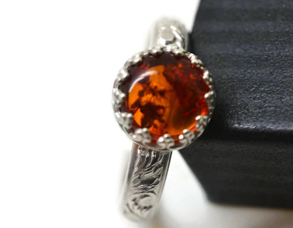 Women's Baltic Amber Engagement Ring in Sterling Silver