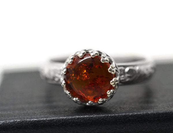 Natural Baltic Amber Engagement Ring in Sterling Silver