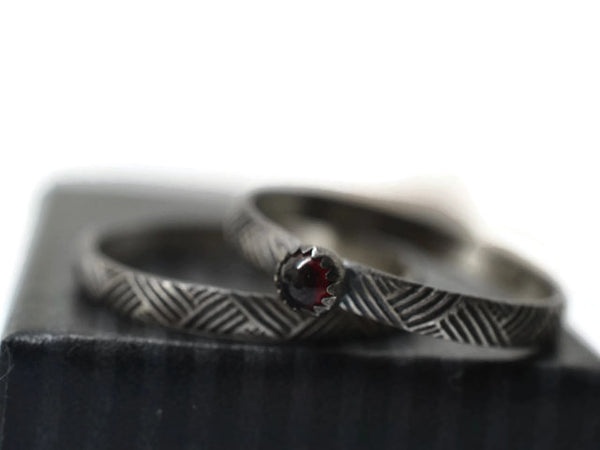 Oxidized Textile Weave Pattern Garnet Bridal Set