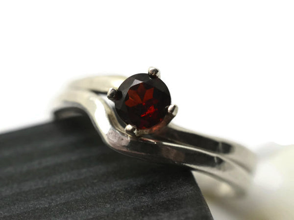 Women's Curved Silver & Red Garnet Bridal Ring Set