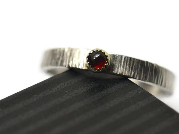 Silver Tree Bark & Garnet Promise Ring