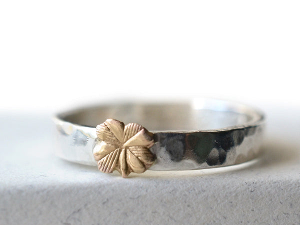 Handmade Sterling Silver & 14K Gold Clover Wedding Band