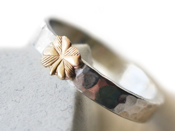 Two Tone 14K Gold Clover & Sterling Silver Band