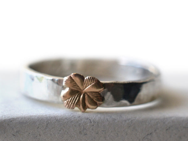 Handmade Sterling Silver & 14k Gold Clover Ring