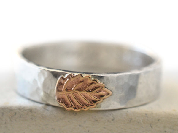 Hammered Silver & 14K Gold Leaf Ring