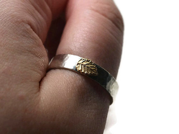 Personalised Sterling Silver & 14K Gold Leaf Wedding Ring