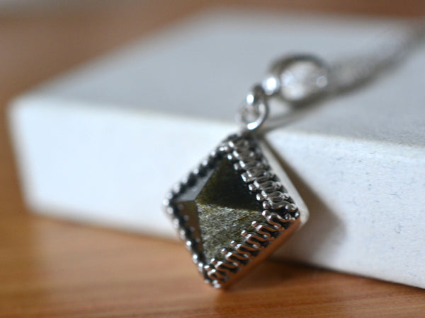 Natural Gold Sheen Obsidian Pyramid Pendant in Silver