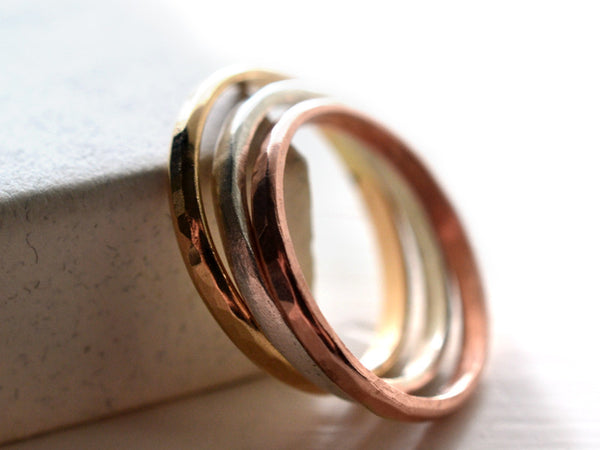 Handmade Set of Three Solid Gold Stacking Rings