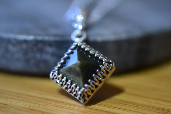 Golden Obsidian Pyramid Necklace with Silver Chain