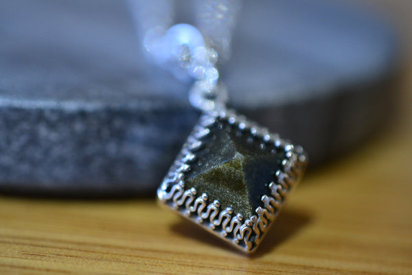 Gold Sheen Obsidian Pyramid Necklace in Sterling Silver