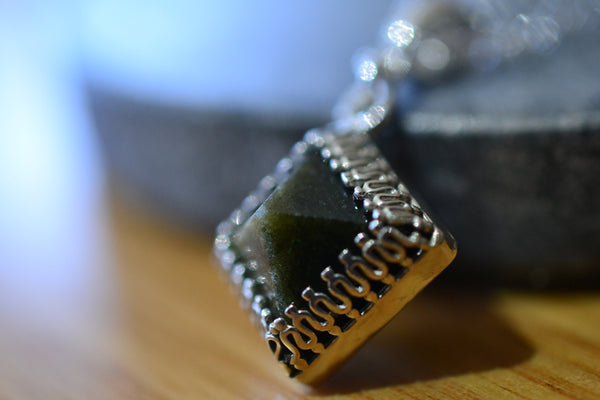 10mm x 10mm Golden Obsidian Pyramid Gemstone Necklace in Silver