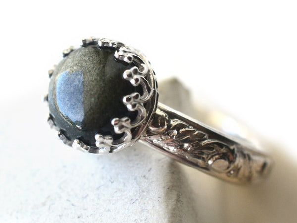 Women's Floral Silver Gold Sheen Obsidian Ring