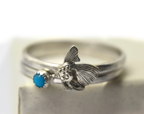 Handmade Silver Goldfish & Turquoise Stacking Rings