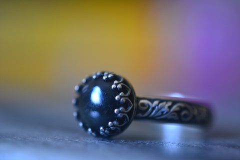 Gothic Black Obsidian Ring in Oxidised Sterling Silver