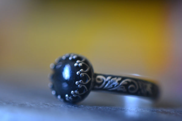 Natural Black Obsidian Gemstone Ring in Darkened Sterling Silver
