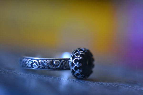 Women's Gothic Oxidised Silver Ring With Bezel Set Obsidian